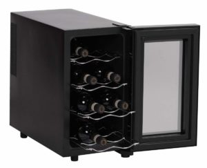 AMSTYLE Design Weinkühlschrank 23 Liter 8°C-18°C - 8 Flaschen Weinkühler schwarz